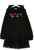 MSGM teen logo embroidered hooded dress