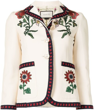 Gucci Pre-Owned Floral Embroidery Single-Breasted Jacket