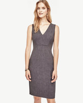 Ann Taylor Petite Seamed V-Neck Sheath Dress