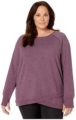 Jockey Active Plus Size R R Crisscross Fleece Tunic (Burgundy Bliss Heather) Women's Clothing