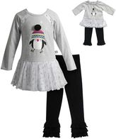 Dollie & Me Girls 4-14 Penguin Glitter Mesh Peplum Top & Ruffle Leggings Set