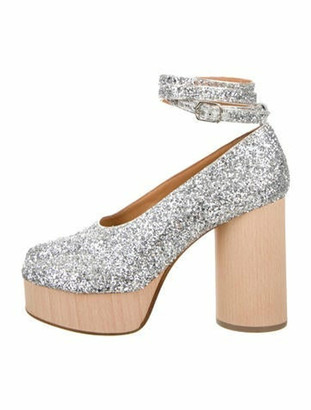 Maison Margiela Metallic Platform Glitter Pumps Metallic