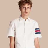 Burberry Short-sleeved Oxford Cotton Shirt With Regimental Detail , Size: Xs, White