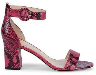 Marc Fisher Snakeskin-Print Leather Ankle-Strap Sandals
