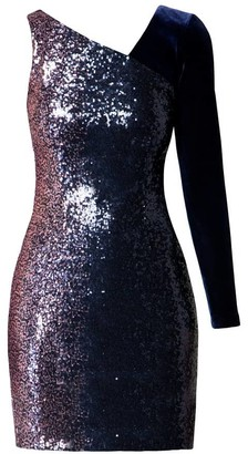 Rumour London Coco Mini Asymmetrical Sequined Ombre Dress With Velvet Sleeve