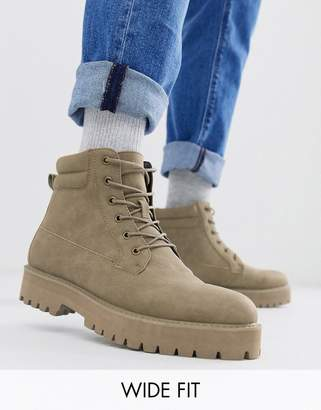 Asos Design DESIGN Wide Fit lace up boots in stone faux suede with stone sole