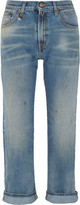 R 13 Bowie distressed low-rise slim boyfriend jeans