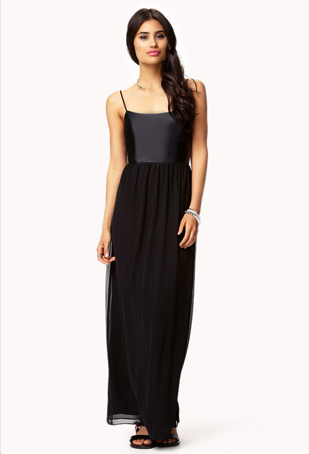 Forever 21 Faux Leather Chiffon Maxi Dress