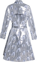 Tanya Taylor Tate Metallic Camera Jacquard Trench Coat SILVER