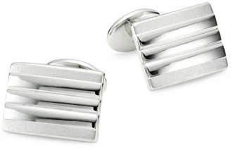 David Donahue 2-Piece Sterling Silver Lined Rectangle Cufflink