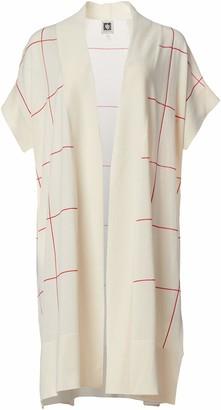 Anne Klein Women's Windowpane Short Sleeve Long Cardigan