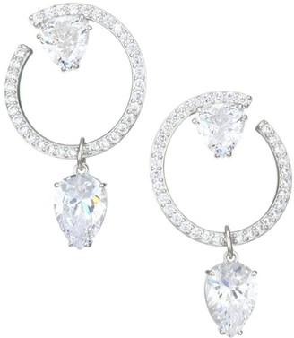 Adriana Orsini Gia Rhodium-Plated & Crystal Front-Facing Pear Drop Hoop Earrings