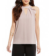Miss Chievous Ruffle Goddess Keyhole Neck Sleeveless Top