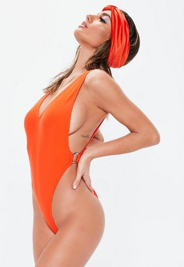 Orange Ring Side High Leg Plunge Swimsuit