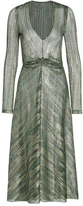 Rotate by Birger Christensen Sierra Metallic Chevron Midi Dress