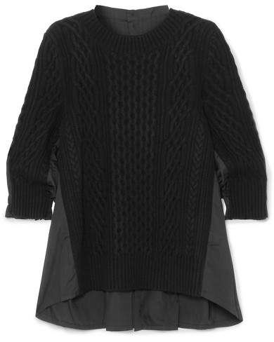 Sacai Oversized Paneled Cable-knit Wool And Poplin Top - Black