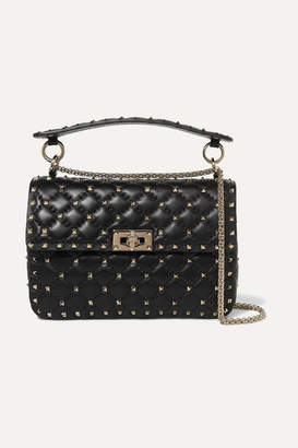 Valentino Garavani Rockstud Spike Medium Quilted Leather Shoulder Bag - Black