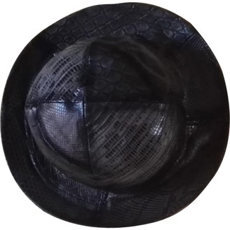 Louis Vuitton Black Leather Hats & pull on hats