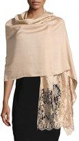 Valentino Modal-Blend Lace-Trim Shawl, Gold