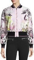 Roberto Cavalli Floral-Print Zip-Front Bomber Jacket, Pink/White