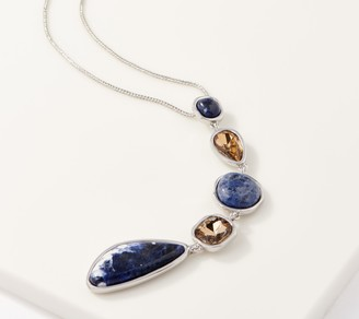 Susan Graver Adjustable Multi Stone Drop Necklace