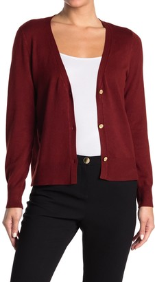 T Tahari Long Sleeve V-Neck Cardigan
