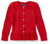 Ralph Lauren 2-6X Cable Cotton Peplum Cardigan