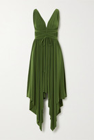 Norma Kamali Goddess Asymmetric Pleated Stretch-jersey Dress - Forest green