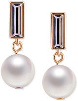 T Tahari Gold-Tone Crystal and Imitation Pearl Drop Earrings
