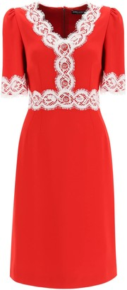 Dolce & Gabbana MIDI DRESS WITH LACE DETAILS 44 Red, White Cotton