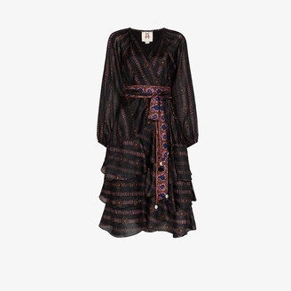 Figue Kira printed V neck silk dress