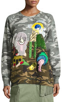 Marc Jacobs Julie Camouflage-Print Raglan Sweatshirt, Gray/Multi