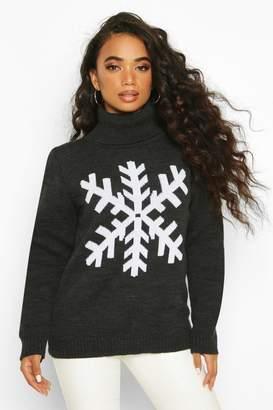 boohoo Petite Roll Neck Snowflake Christmas Jumper