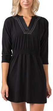 Belldini Women's Black Label Metallic Studded Front Dress