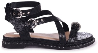 Linzi CELESTE - Black Croc Gladiator Style Sandal With Studded Rope Sole