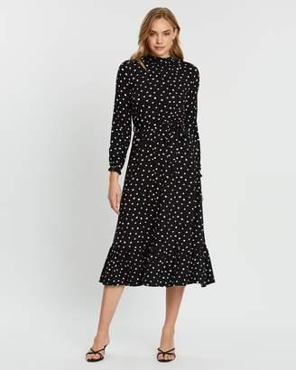 Dorothy Perkins Spot High Ruffle Neck Jersey Midi Dress