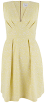Closet V Neck Full Jacquard Dress, Yellow