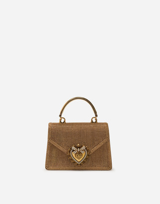 Dolce & Gabbana Small Devotion Bag In Rhinestone Chain