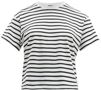Atm - Striped Cotton T-shirt - Womens - White Black