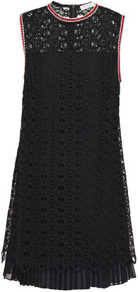 Sandro Franck Braided Metallic-trimmed Pleated Lace Mini Dress