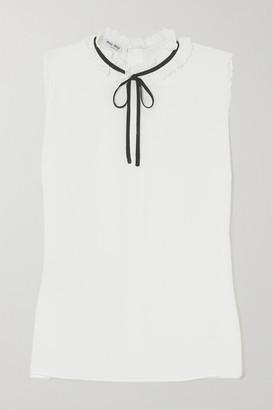 Miu Miu Scalloped Silk Crepe De Chine Blouse - Off-white