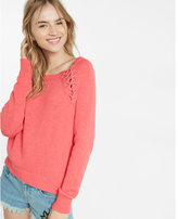 Express lace-up shoulder pullover sweater