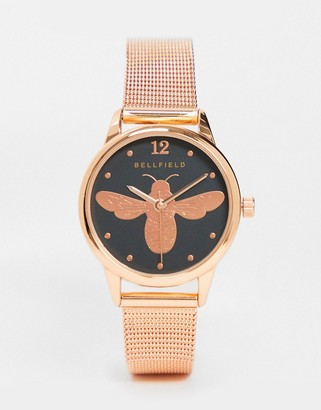 Bellfield bracelet watch with bumble bee dial in rose gold