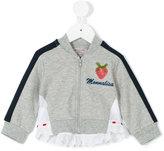 MonnaLisa strawberry patch zip sweatshirt - kids - Cotton/Spandex/Elastane - 3 mth