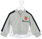 MonnaLisa strawberry patch zip sweatshirt - kids - Cotton/Spandex/Elastane - 6 mth