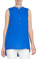 CeCe Sleeveless Lightweight Crepe Henley Blouse