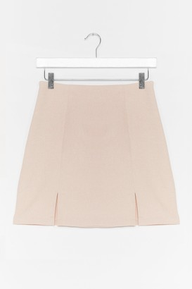 Nasty Gal Womens What's Slit Gonna Be High-Waisted Mini Skirt - Stone