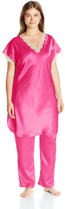 Shadowline Women's Plus-Size Charming Satin Charmeuse Pajama Set