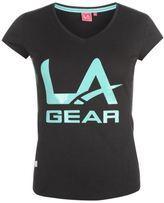 L.A. Gear Womens LL Tee Shirt Top Print Short Sleeve V Neck Summer Casual