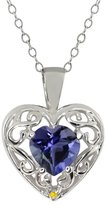 Gem Stone King 0.59 Ct Heart Shape Blue Iolite Yellow Sapphire Sterling Silver Pendant